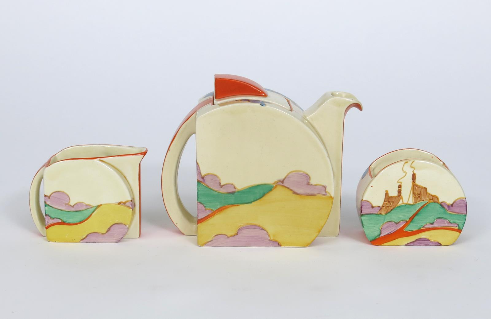 'Orange Secrets' a Clarice Cliff Fantasque Bizarre Stamford tea for two, painted in colours, - Image 4 of 5