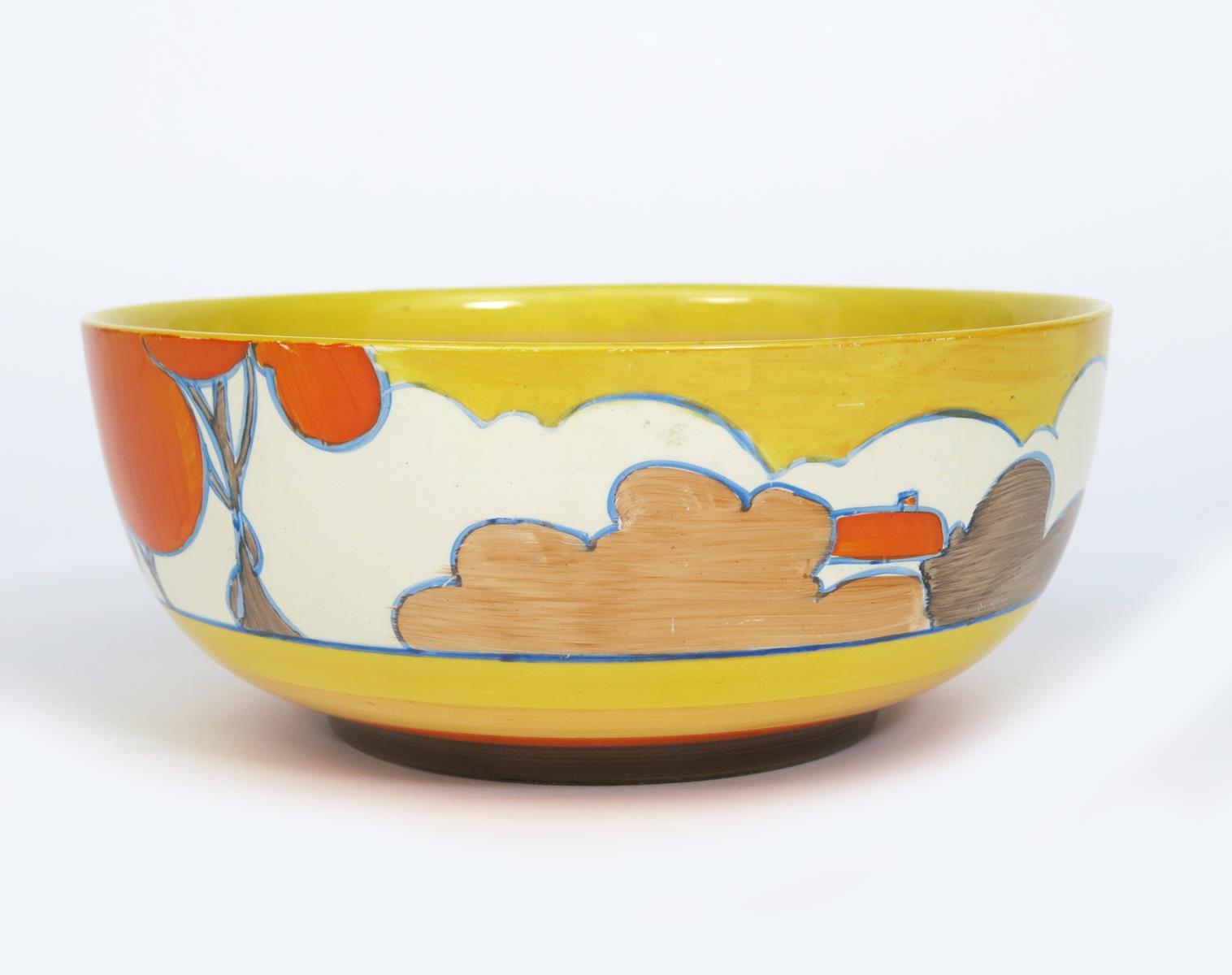 'Orange Autumn' a Clarice Cliff Bizarre bowl, painted in colours, between yellow, orange and brown - Image 3 of 3
