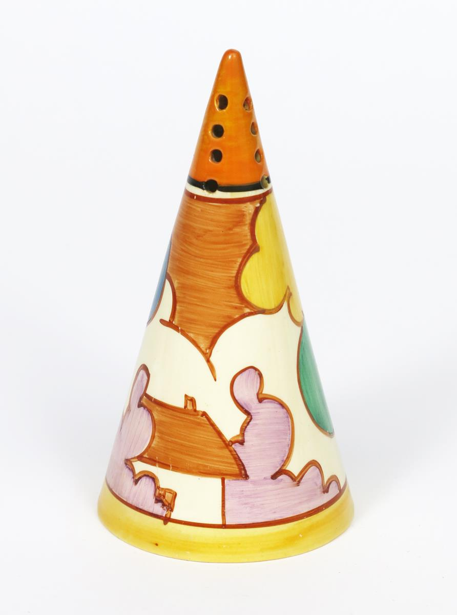 'Autumn' a Clarice Cliff Fantasque Bizarre Conical sugar sifter, painted in colours between orange - Image 2 of 2