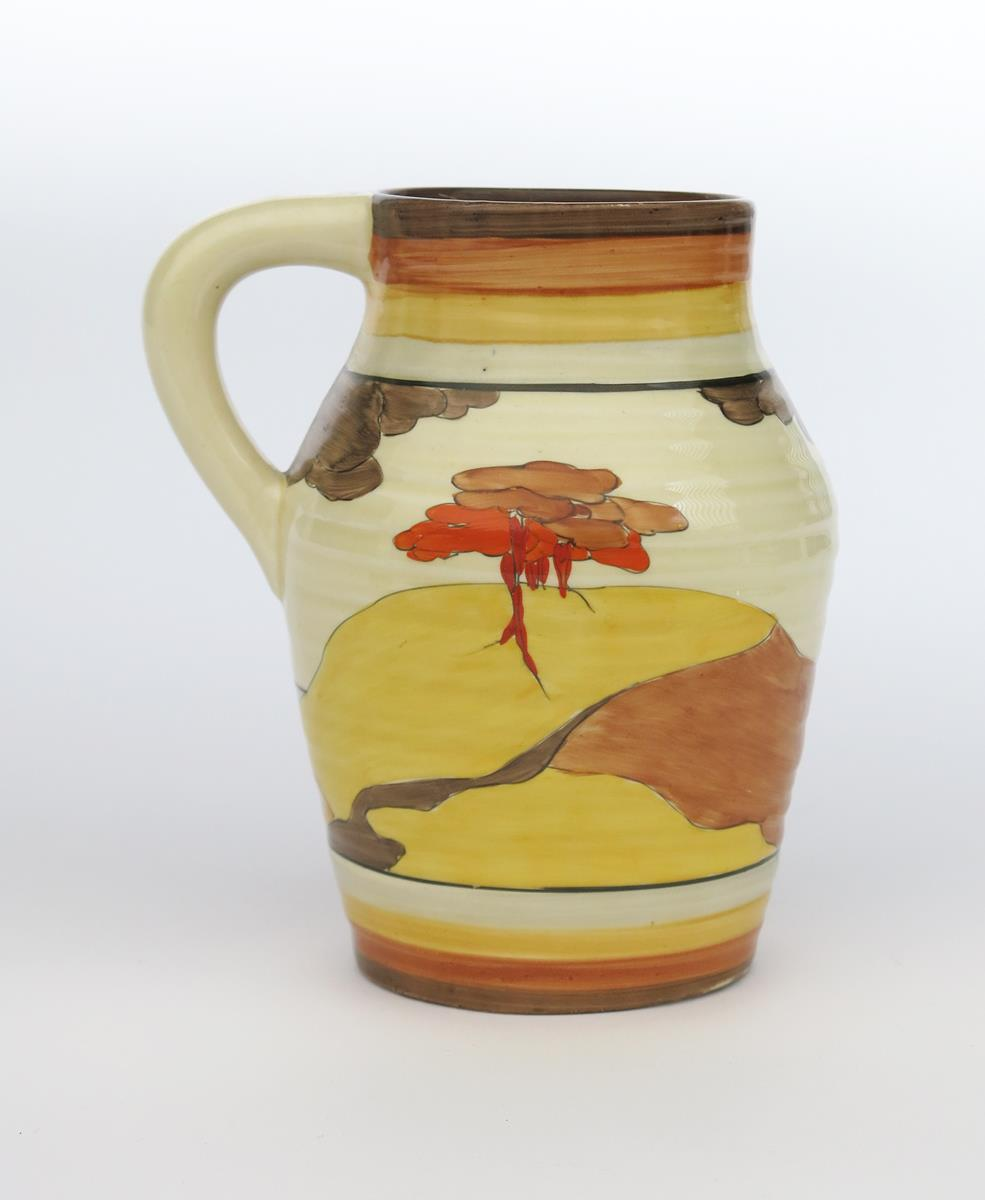 'Coral Firs' a Clarice Cliff Bizarre single-handled Isis jug, painted in colours between grey, - Image 2 of 2