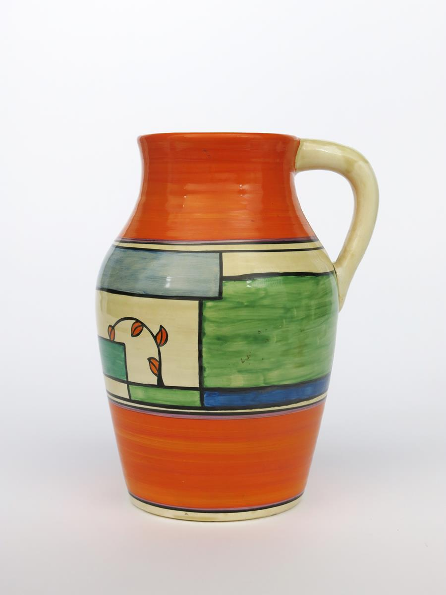 'Branch and Squares' a Clarice Cliff Bizarre single-handled Lotus jug, painted in colours between