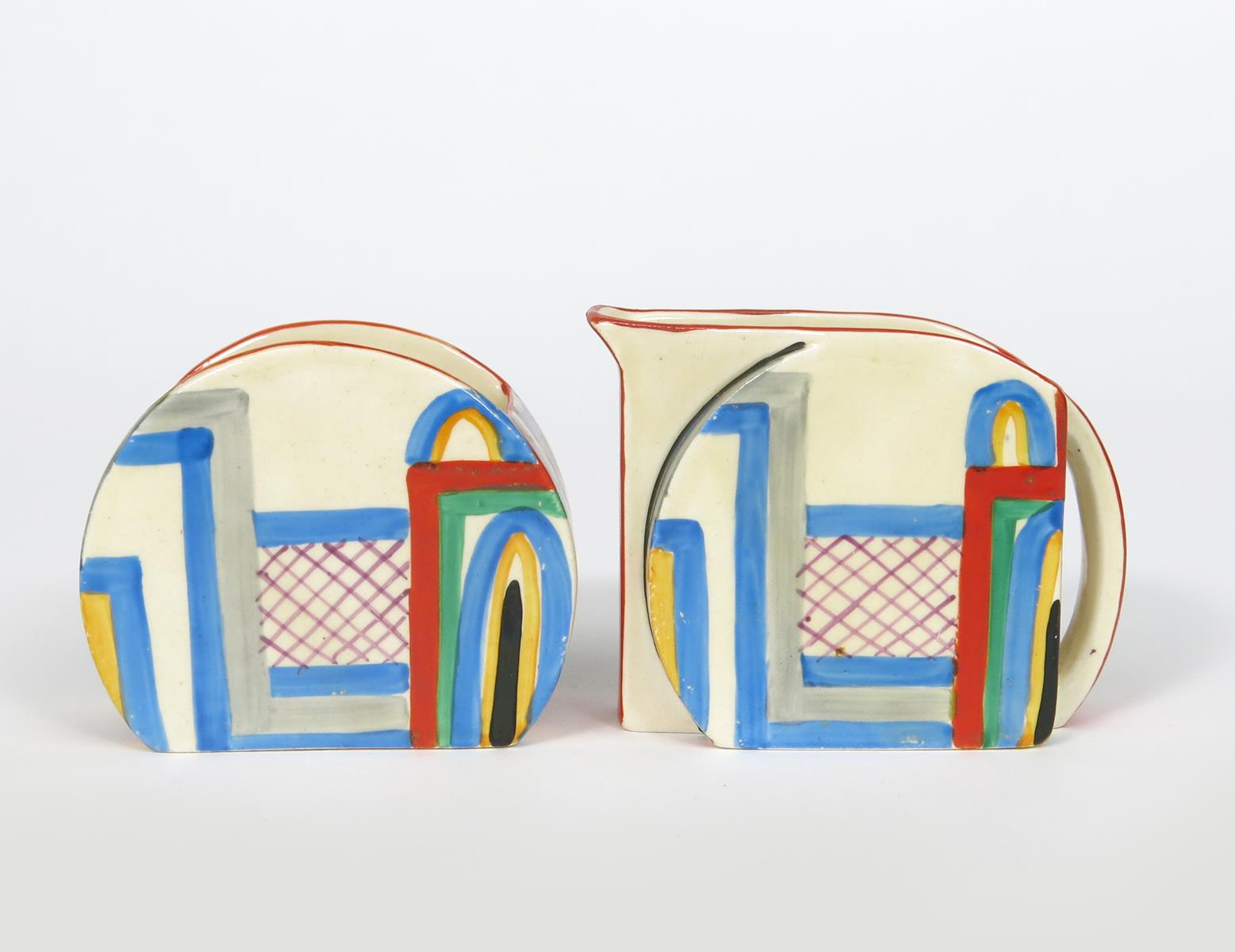 'Tennis' a Clarice Cliff Bizarre Stamford milk-jug and sugar basin, painted in colours printed