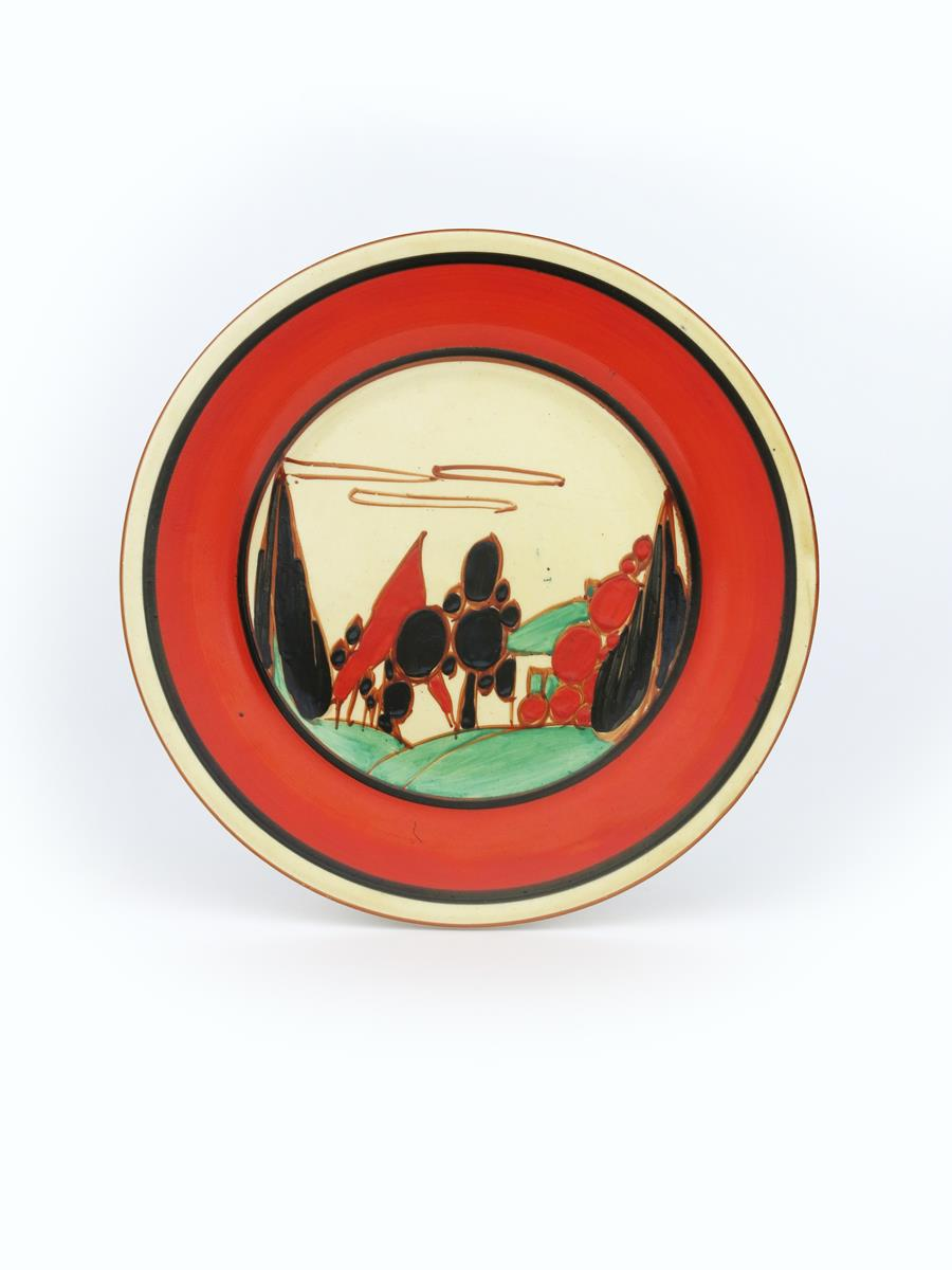 'Red Trees and House' a Clarice Cliff Fantasque Bizarre side plate, painted in colours inside red - Image 2 of 2