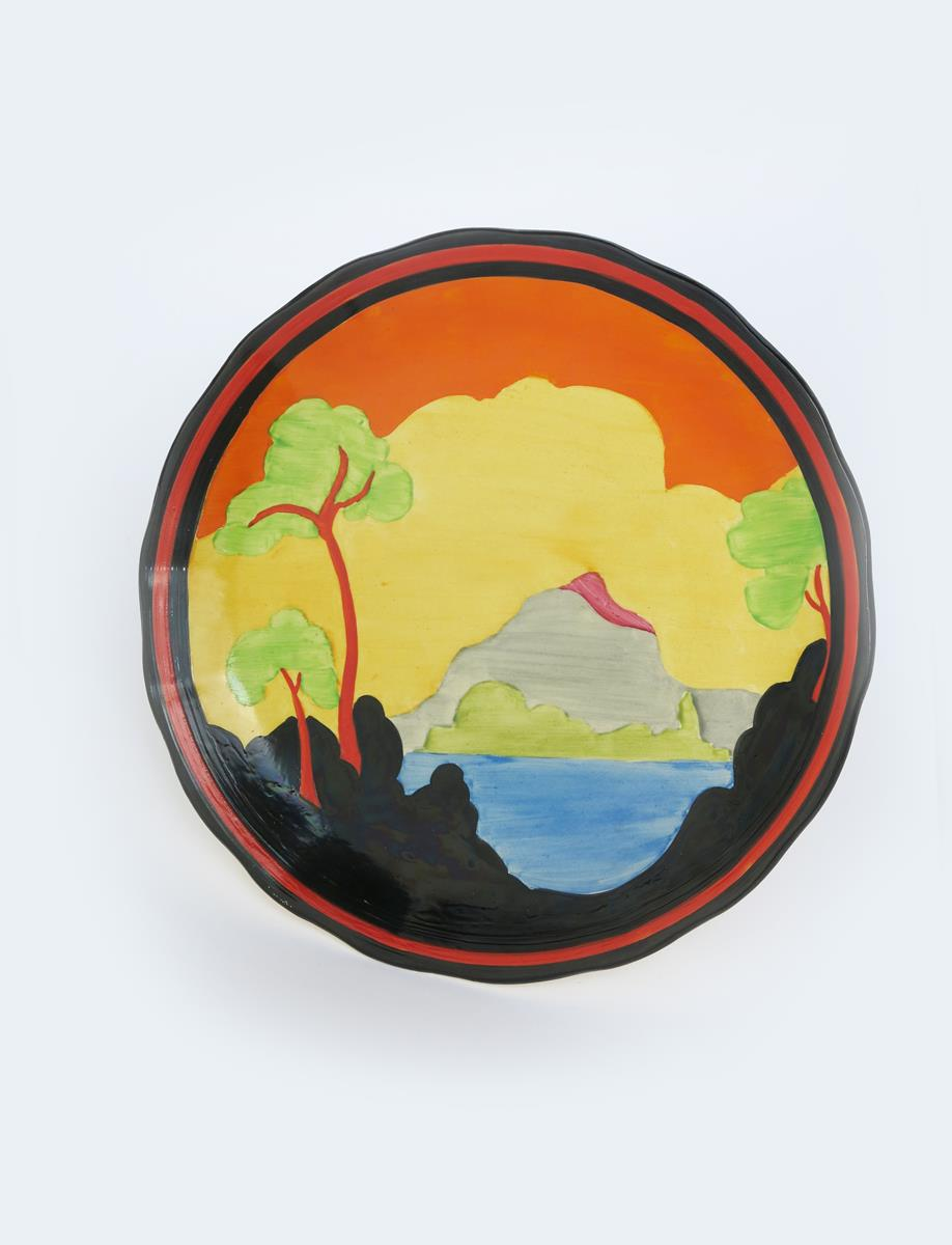 'Applique Etna' a Clarice Cliff Bizarre plate, painted in colours inside black, red and black - Image 2 of 2
