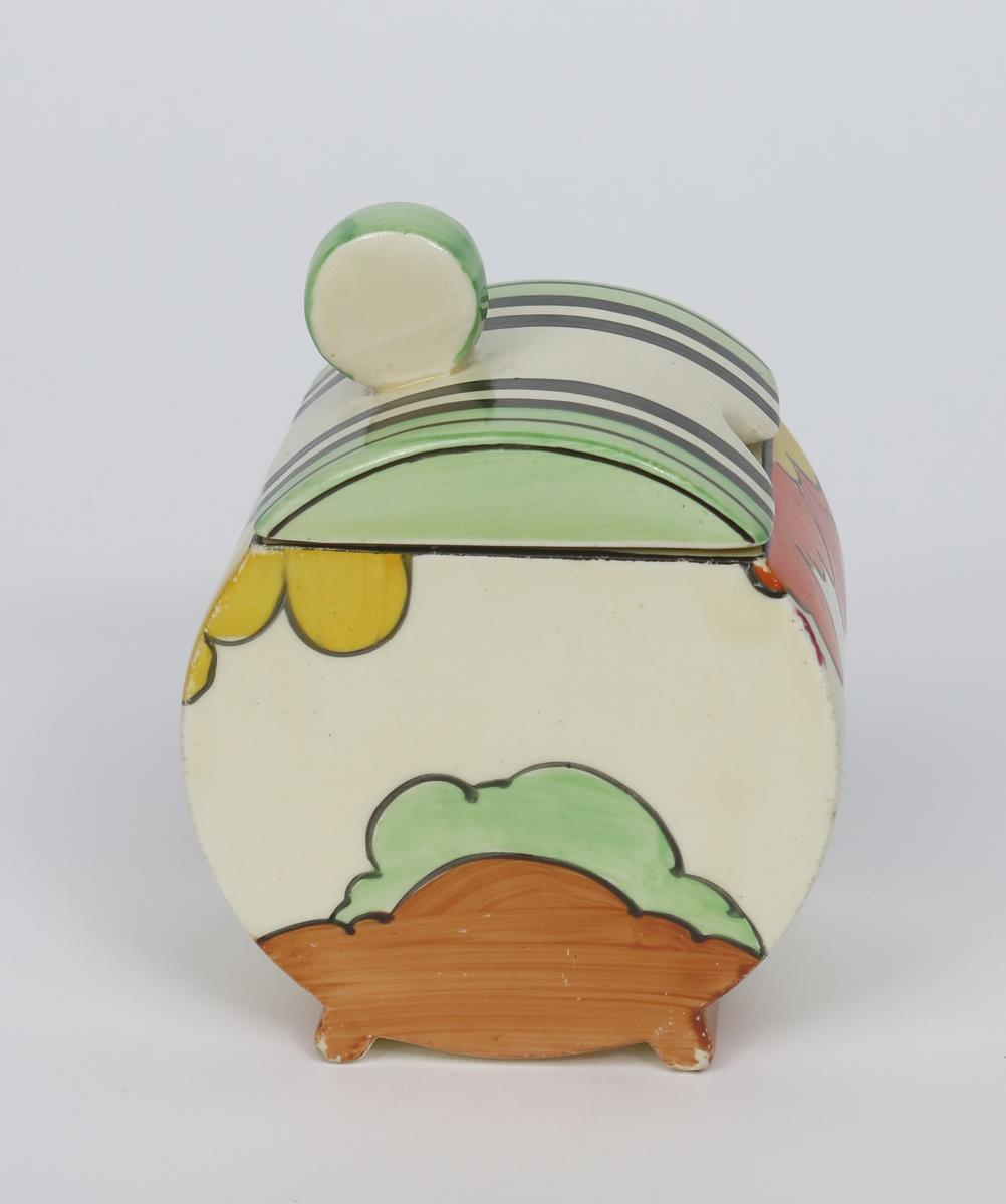 'Honolulu' a Clarice Cliff Fantasque Bizarre Bon Jour preserve pot and cover, painted in colours, - Image 2 of 2