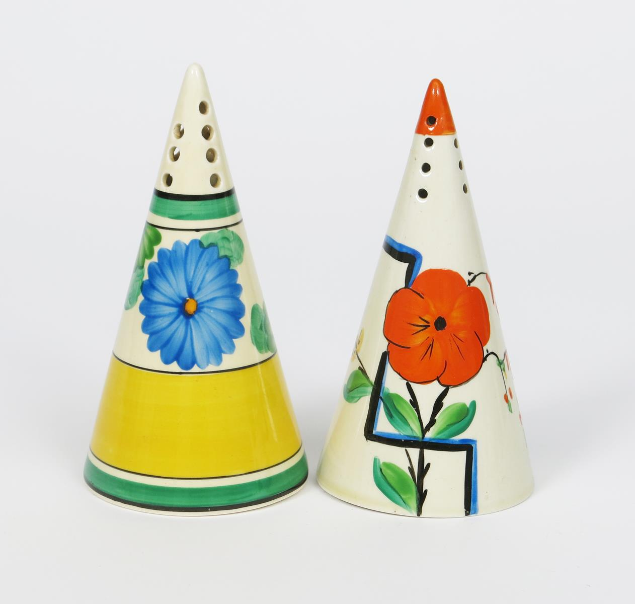 'Sun-gay' a Clarice Cliff Bizarre Conical sugar sifter, painted in colours and a Honeyglaze