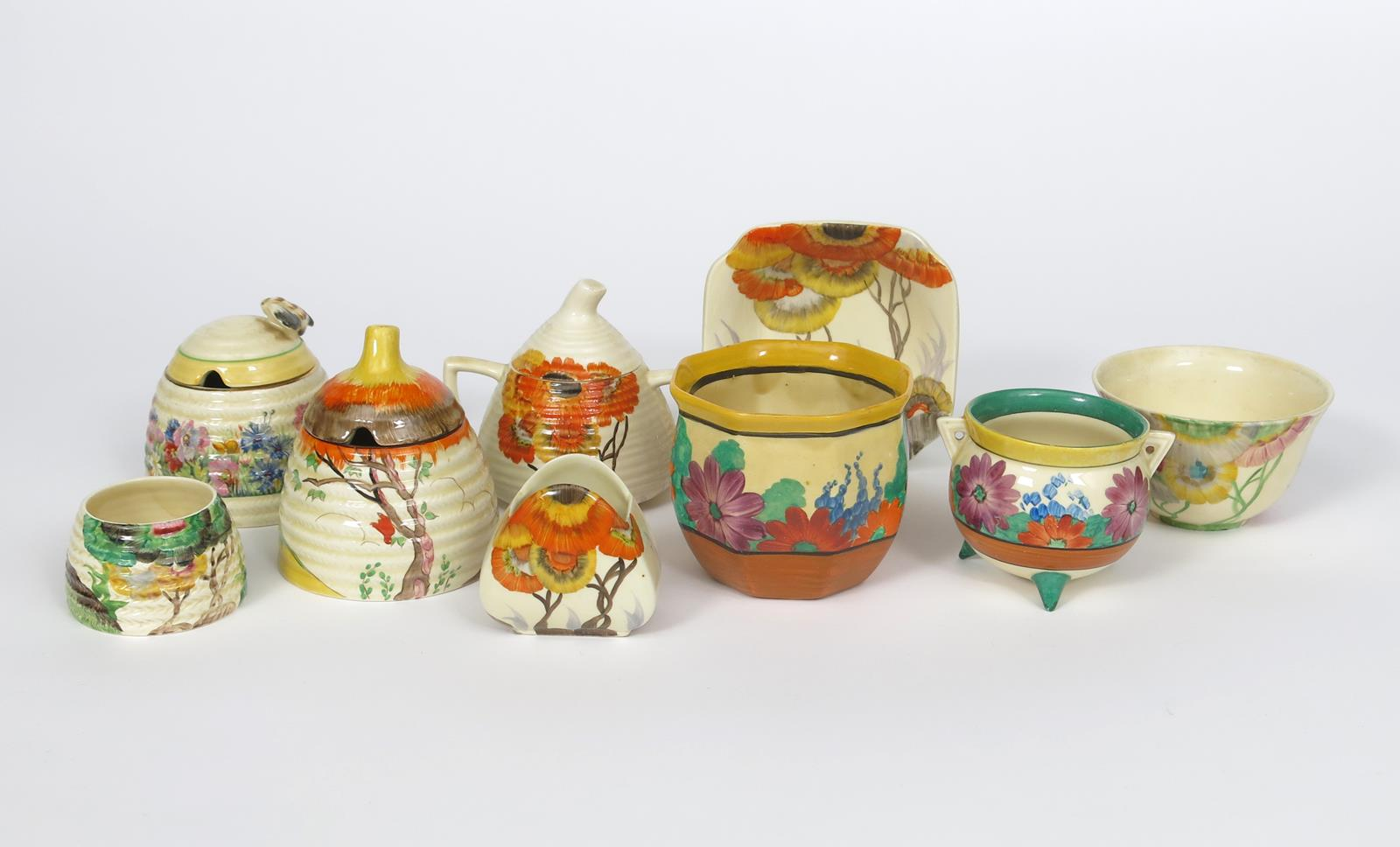 'Gay Day' a Clarice Cliff Bizarre Cauldron, painted in colours, a Gay Day Chester Fern pot, two