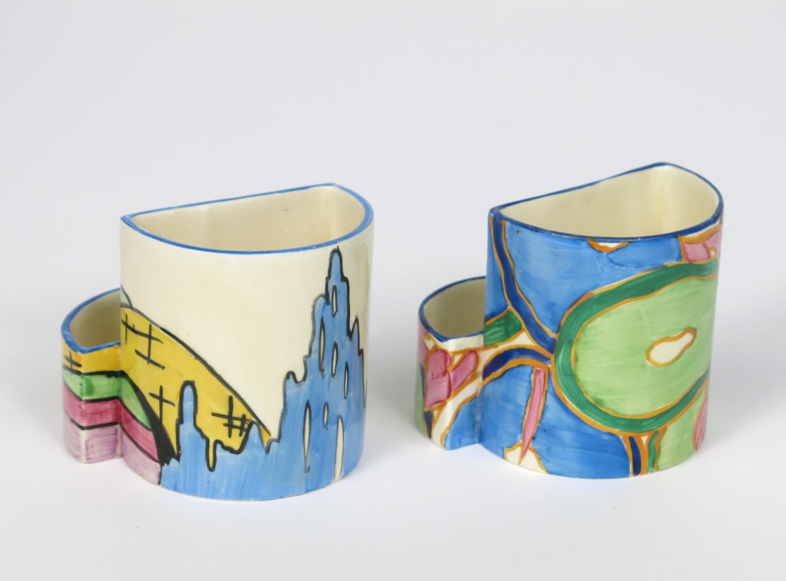 'Pink Roof Cottage' a Clarice Cliff Fantasque Bizarre 463 Cigarette and match holder, painted in - Image 2 of 2