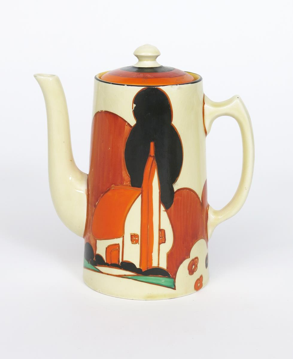 'Farmhouse' a Clarice Cliff Fantasque Bizarre Tankard coffee pot and cover, painted in colours,