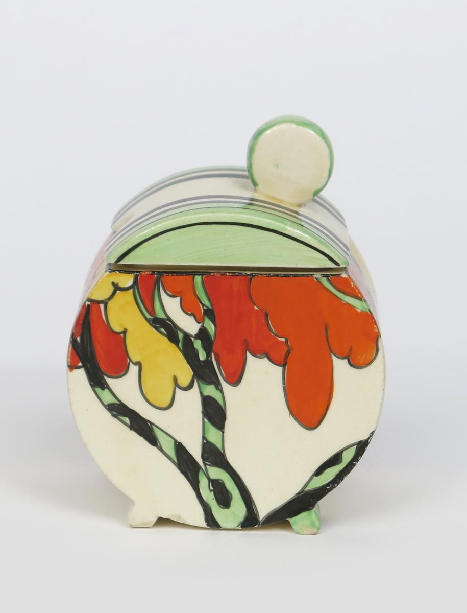 'Honolulu' a Clarice Cliff Fantasque Bizarre Bon Jour preserve pot and cover, painted in colours,