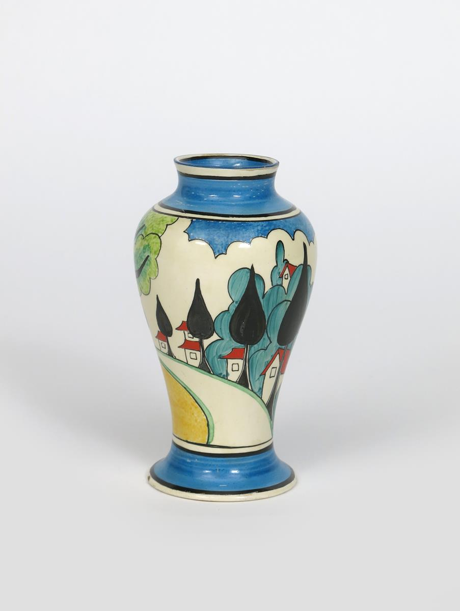 'May Avenue' a rare Clarice Cliff Bizarre Mei Ping vase, painted in colours between blue and black