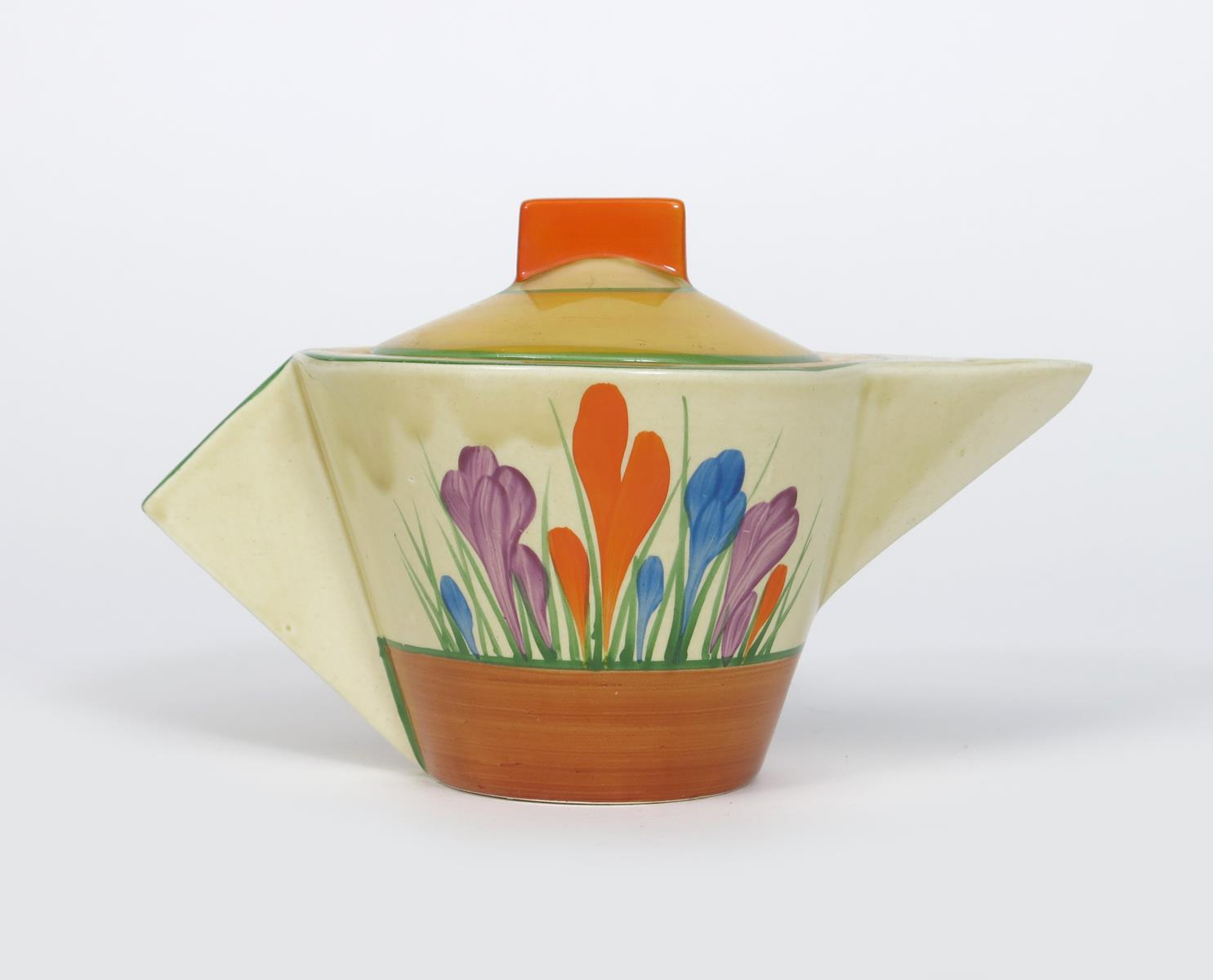 'Crocus' a Clarice Cliff Bizarre Conical teapot and cover, painted in colours between yellow and - Image 2 of 2