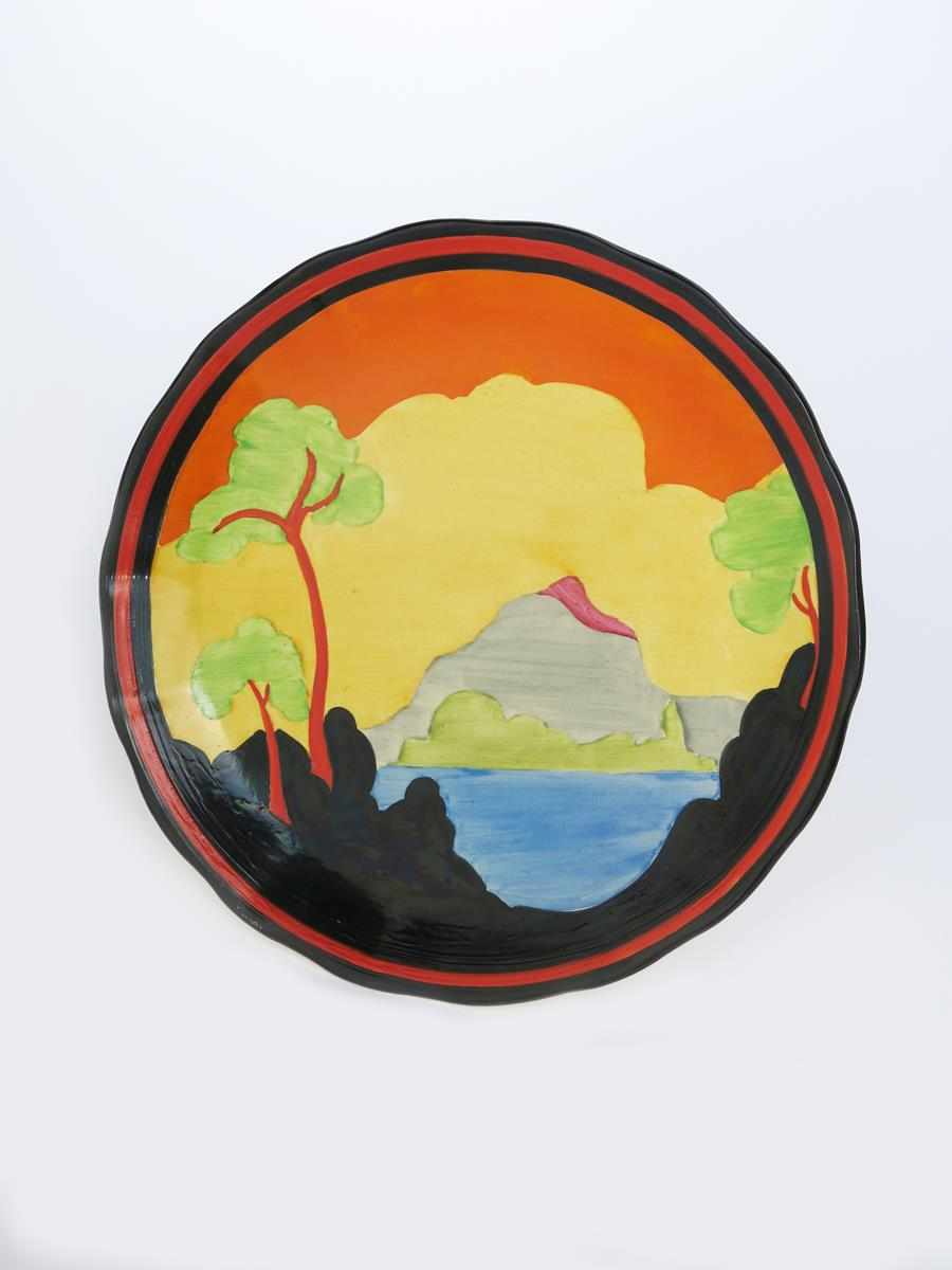'Applique Etna' a Clarice Cliff Bizarre plate, painted in colours inside black, red and black
