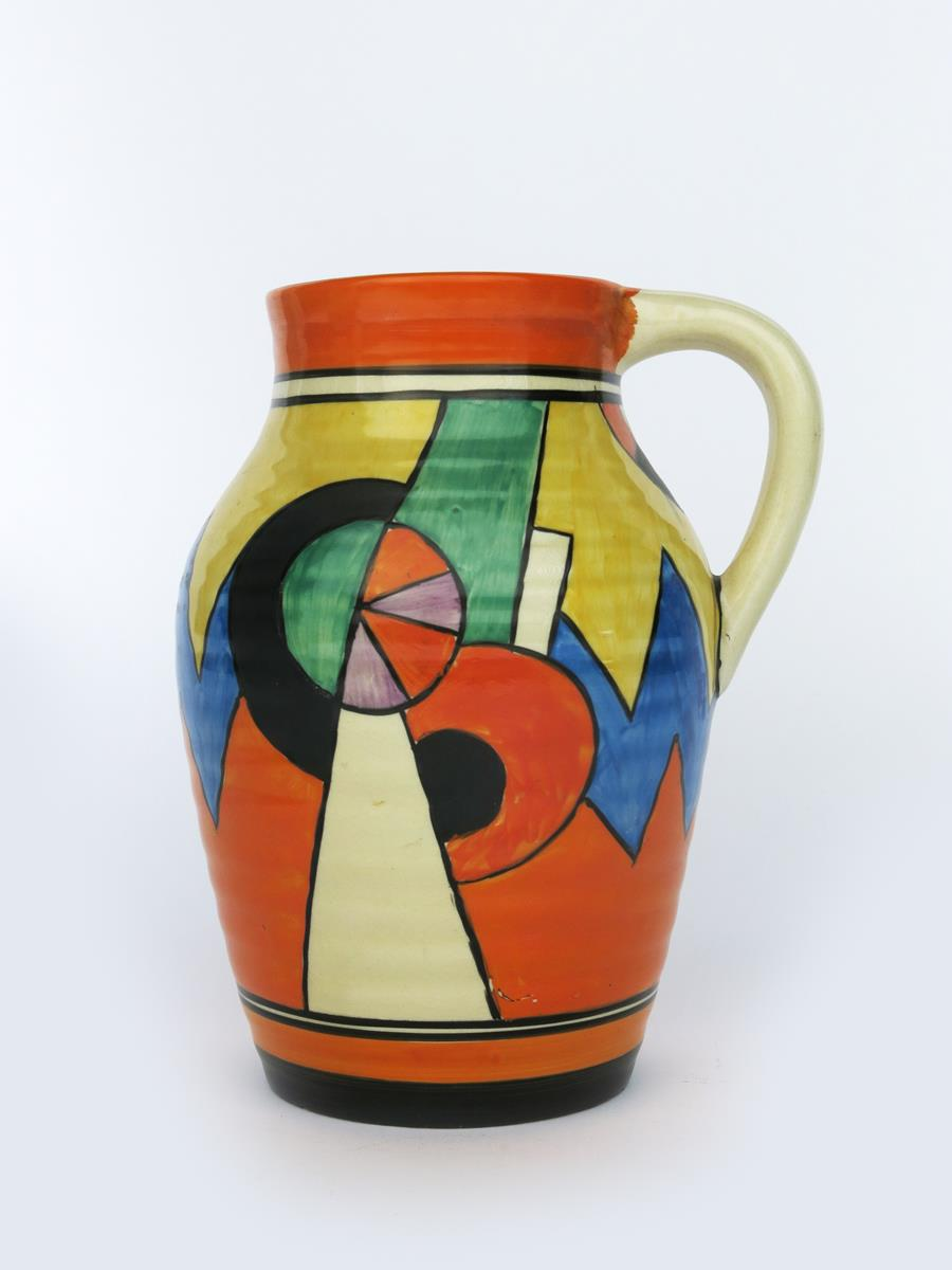'Blue W' a Clarice Cliff Bizarre single-handled Isis vase, painted in colours between orange and - Image 4 of 4
