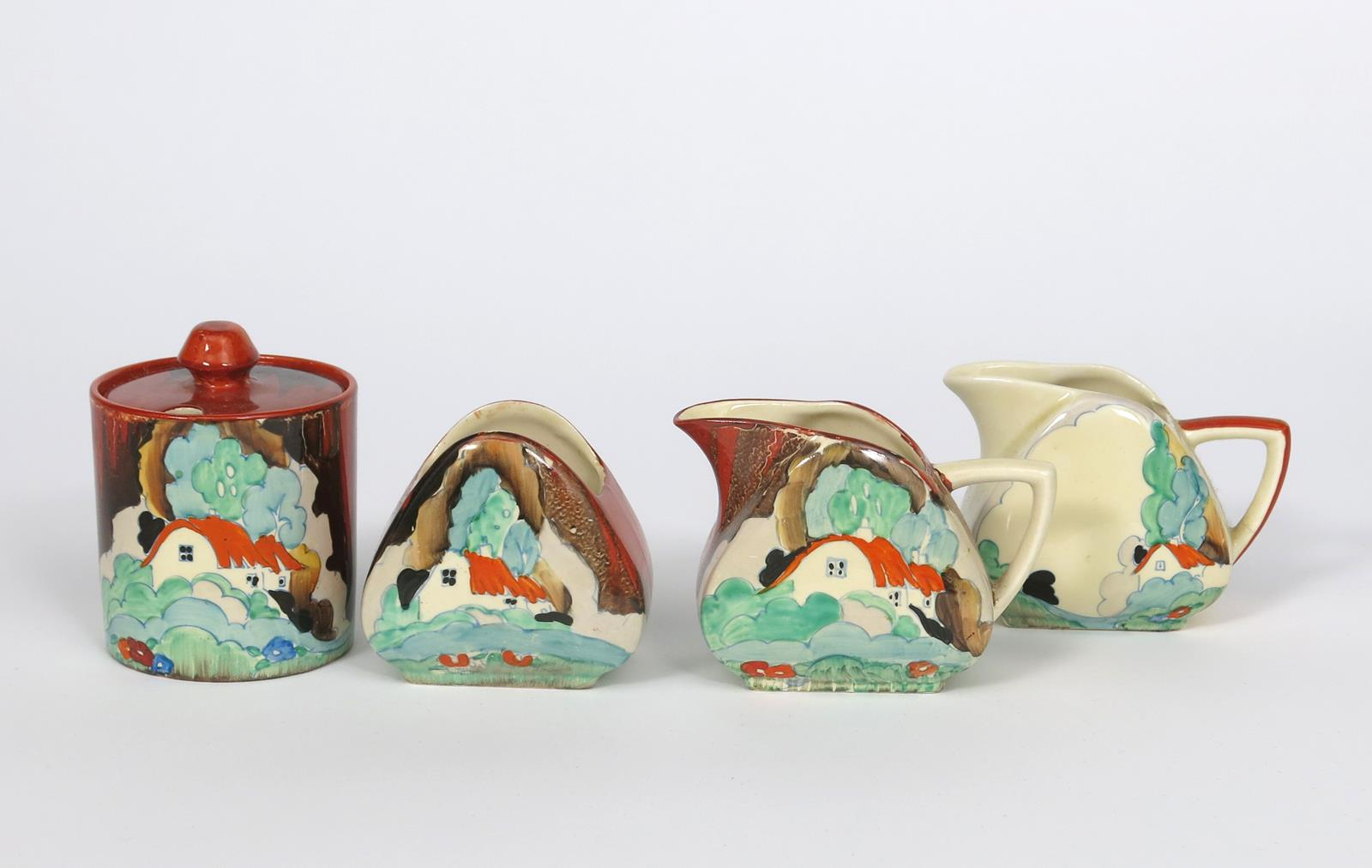 'Forest Glen' a Clarice Cliff Cylindrical preserve pot and cover, painted in colours, a Forest