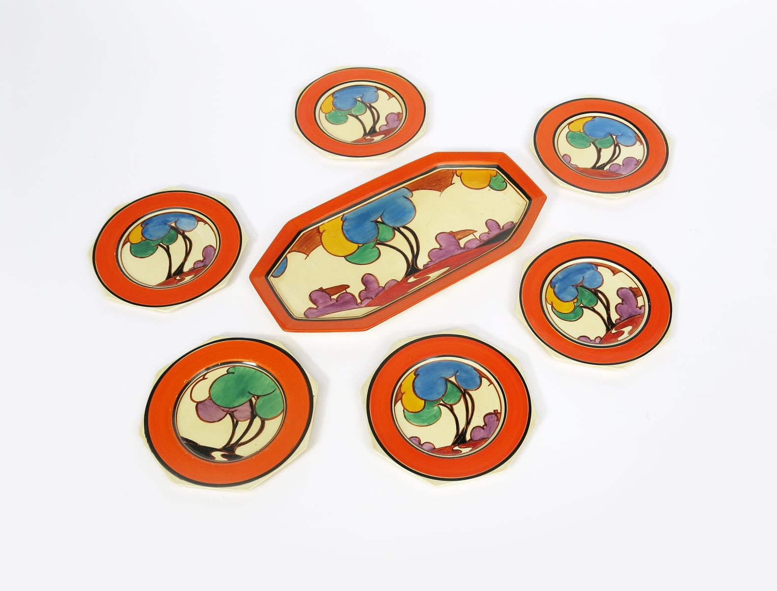 'Autumn' a Clarice Cliff Fantasque Bizarre Octagonal sandwich set for six, comprising tray and six - Image 2 of 2