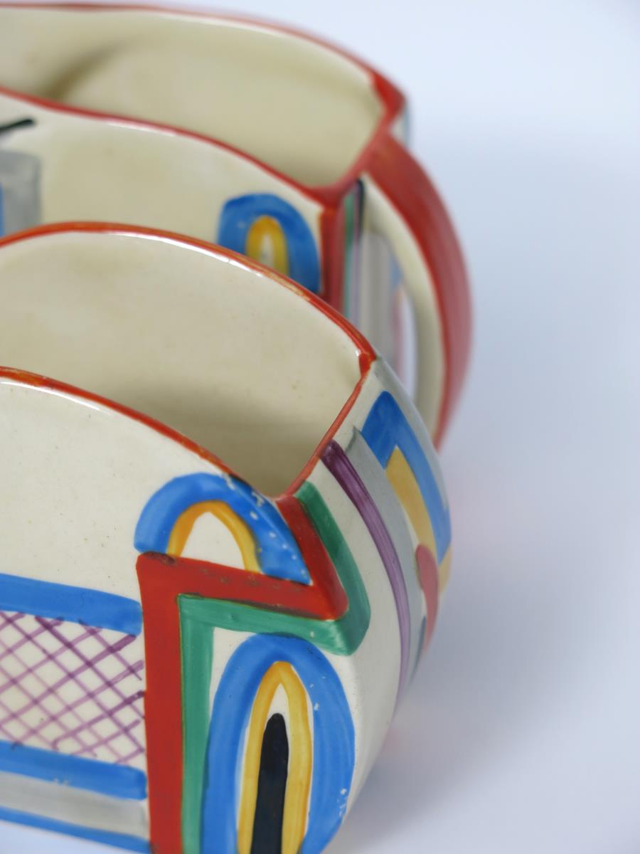 'Tennis' a Clarice Cliff Bizarre Stamford milk-jug and sugar basin, painted in colours printed - Image 4 of 4