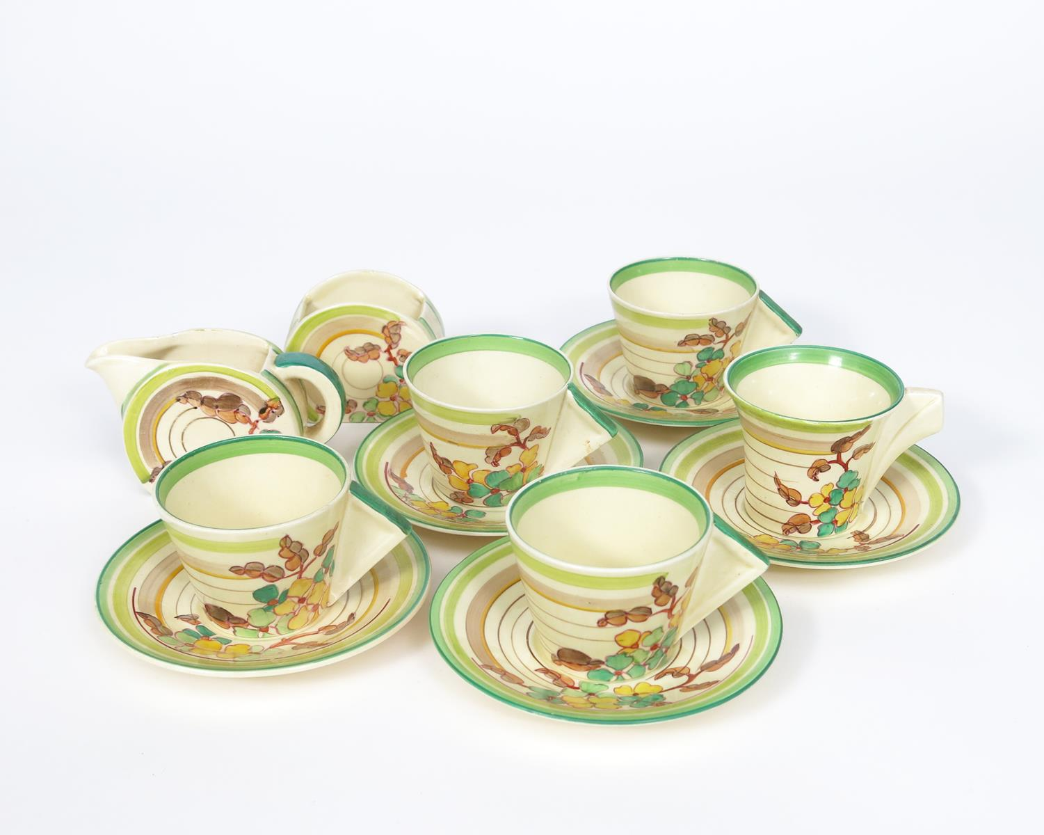 'Green Hydrangea' a Clarice Cliff Bizarre part Conical coffee set, painted in colours, comprising