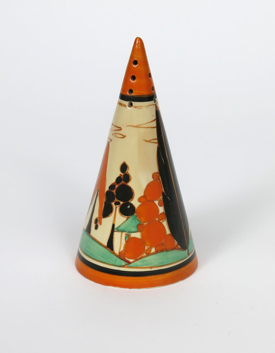 'Orange Trees and House' a Clarice Cliff Bizarre Conical sugar sifter, painted in colours, printed - Image 2 of 2