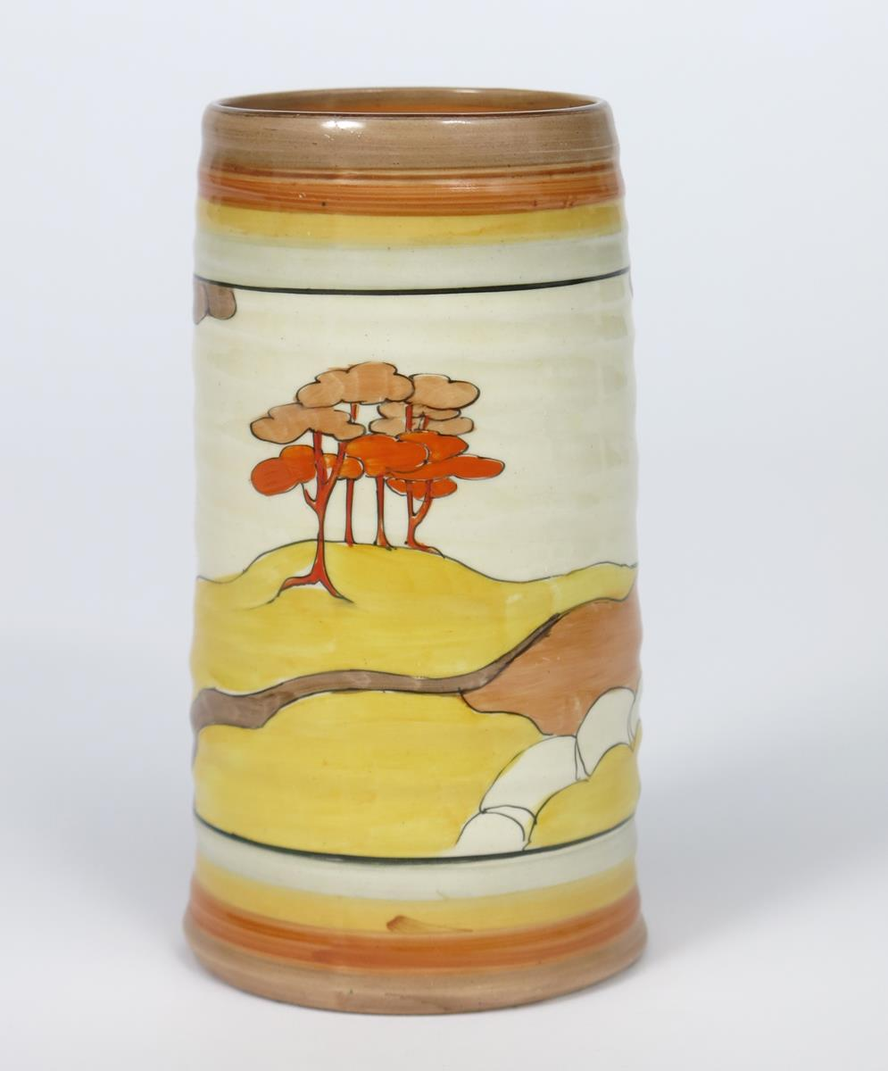 'Coral Firs' a Clarice Cliff Bizarre 566 vase, painted in colours between grey, yellow and brown - Image 2 of 2