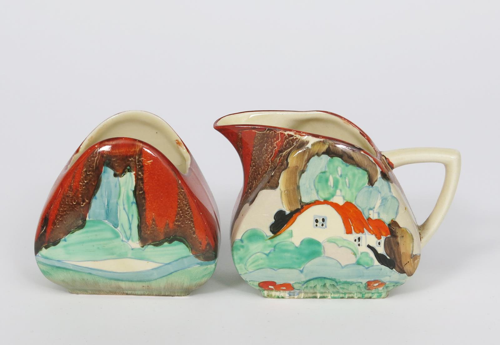 'Forest Glen' a Clarice Cliff Cylindrical preserve pot and cover, painted in colours, a Forest - Image 2 of 2