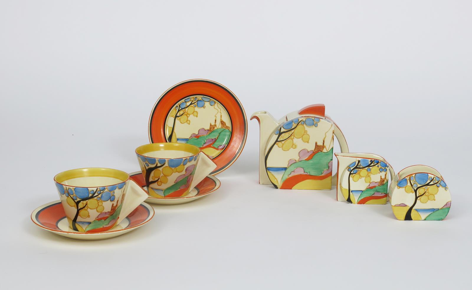 'Orange Secrets' a Clarice Cliff Fantasque Bizarre Stamford tea for two, painted in colours,