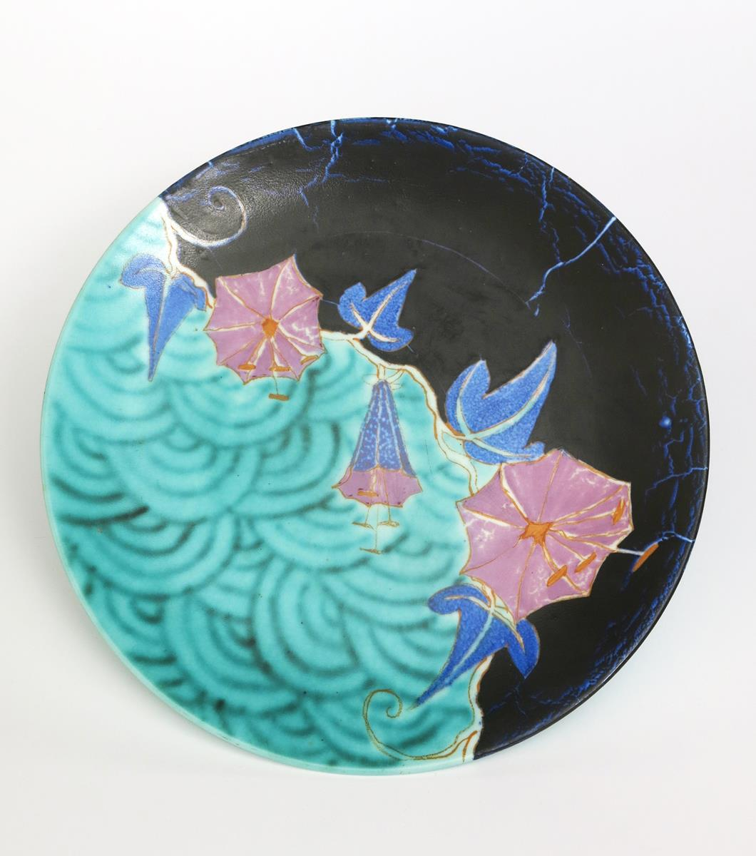 'Inspiration Bouquet' a Clarice Cliff Bizarre wall plaque, painted in colours on a turquoise