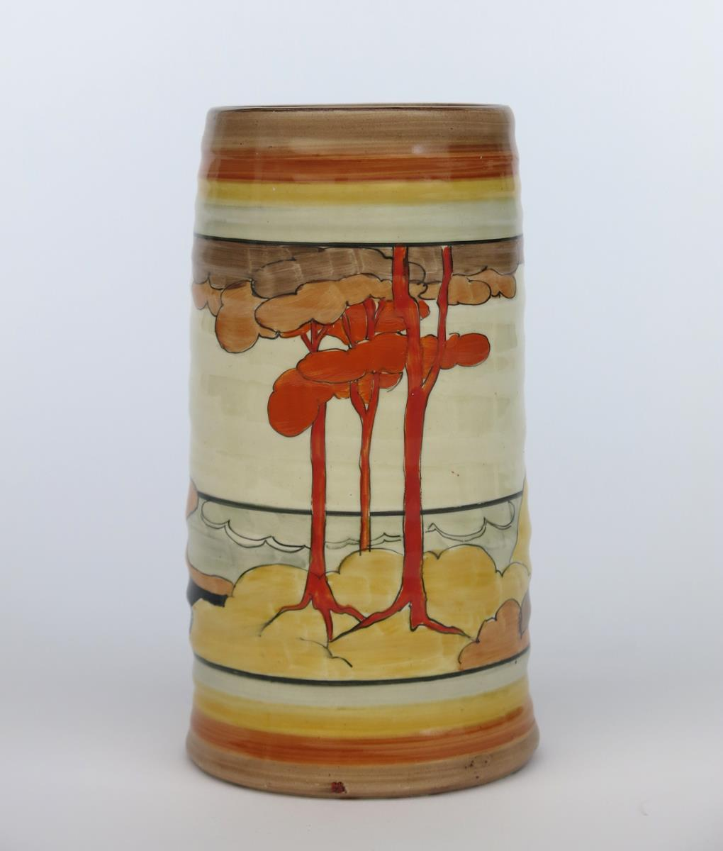 'Coral Firs' a Clarice Cliff Bizarre 566 vase, painted in colours between grey, yellow and brown