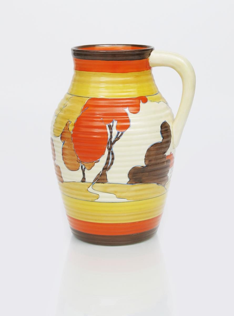 'Autumn' a Clarice Cliff Fantasque Bizarre single-handled Lotus jug, painted in colours between - Image 2 of 2