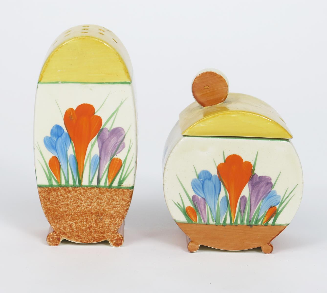 'Crocus' a Clarice Cliff Bizarre Bon Jour sugar sifter, painted in colours, between yellow and brown