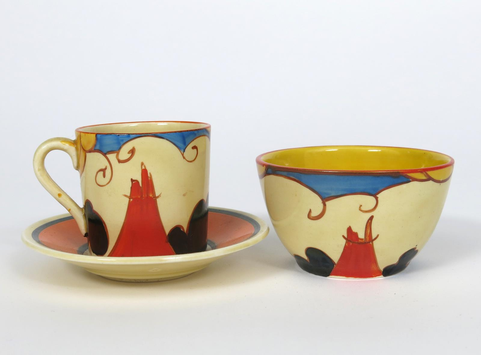'Summerhouse' a Clarice Cliff Fantasque Bizarre Tankard coffee can and saucer and en suite sugar