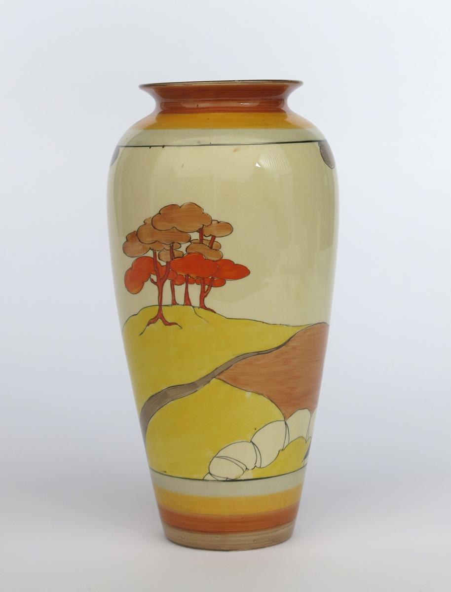 'Coral Firs' a Clarice Cliff Bizarre 120 vase, painted in colours between yellow and brown bands, - Image 2 of 2