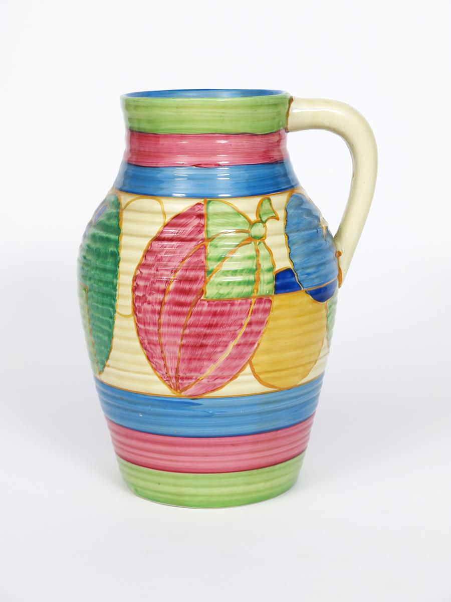 'Pastel Melon' a Clarice Cliff Fantasque Bizarre single-handled Lotus jug, painted in colours - Image 2 of 2