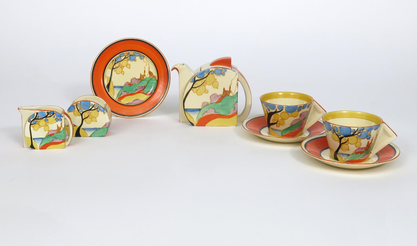 'Orange Secrets' a Clarice Cliff Fantasque Bizarre Stamford tea for two, painted in colours, - Image 5 of 5