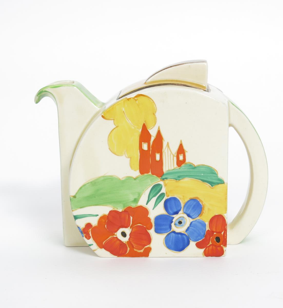 'Alton' a Clarice Cliff Bizarre Stamford teapot and cover, painted in colours, printed factory