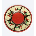 'Red Trees and House' a Clarice Cliff Fantasque Bizarre wall charger, painted with six repeat radial