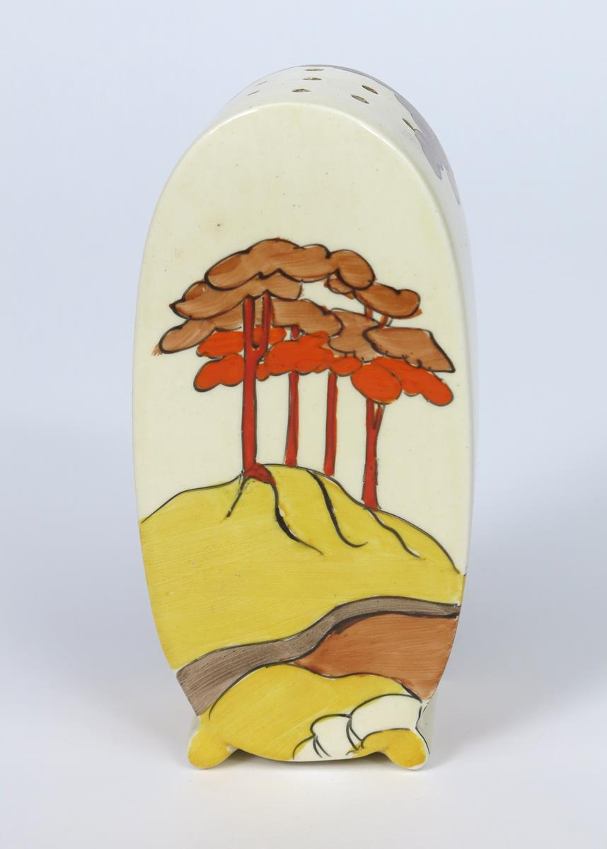 'Coral Firs' a Bizarre Bon Jour sugar sifter, painted in colours printed factory mark, 13cm. high - Image 2 of 2