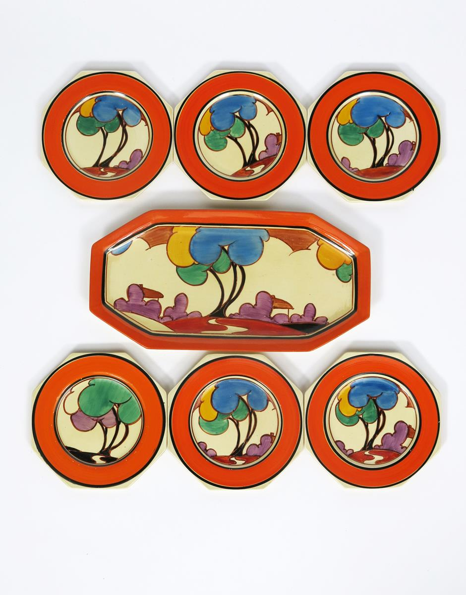'Autumn' a Clarice Cliff Fantasque Bizarre Octagonal sandwich set for six, comprising tray and six