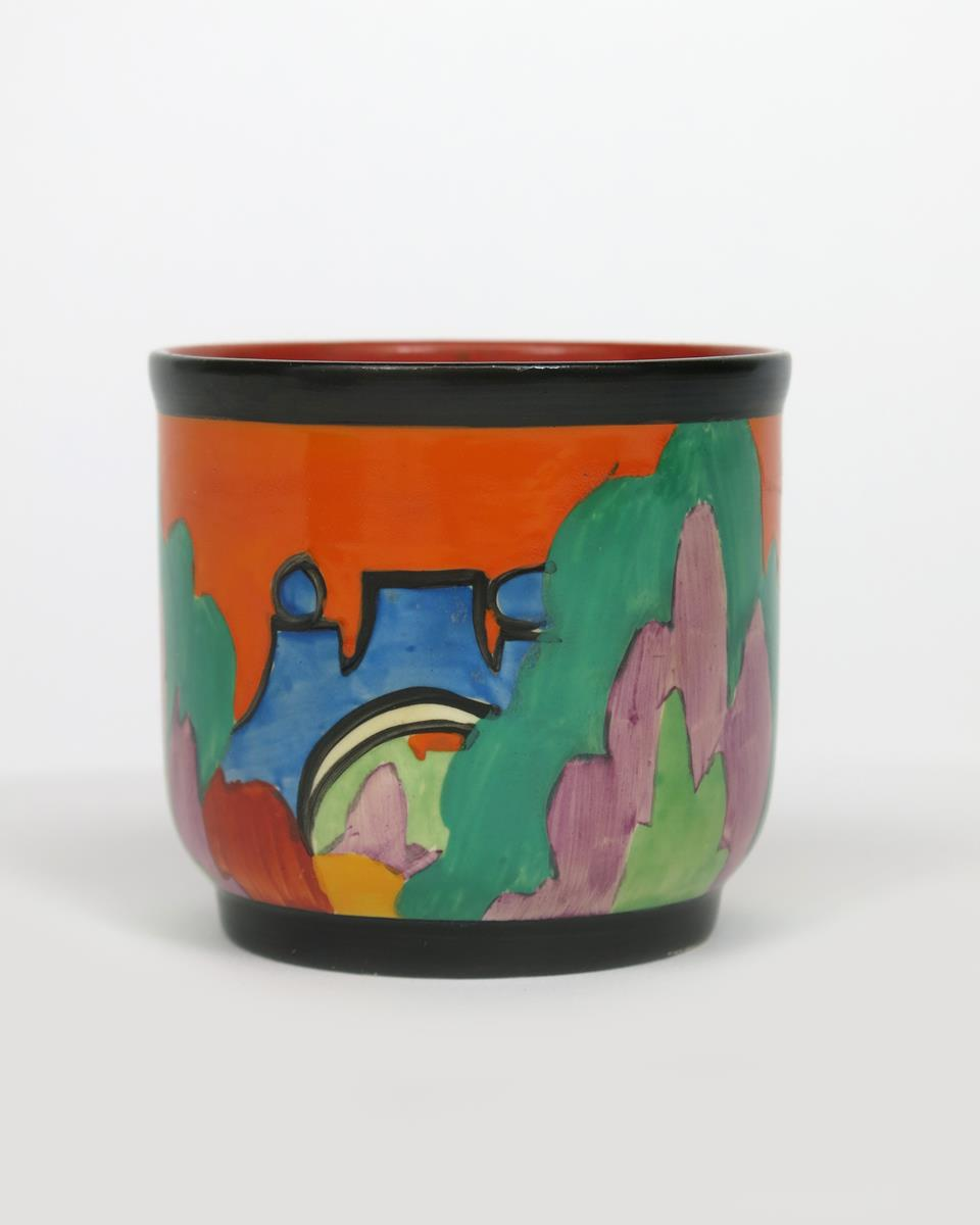 'Applique Avignon' a Clarice Cliff Bizarre fern pot, painted in colours printed and painted