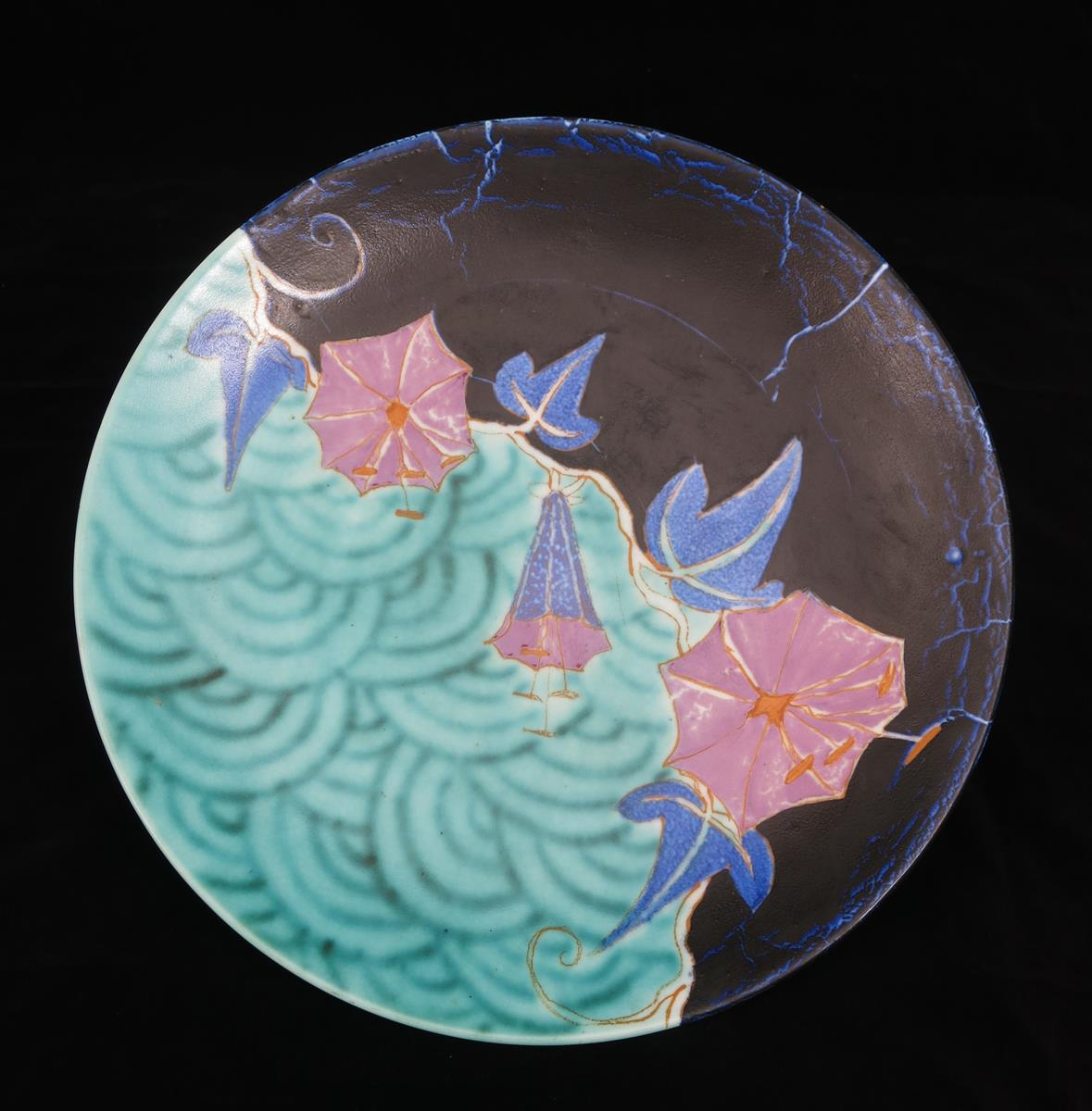 'Inspiration Bouquet' a Clarice Cliff Bizarre wall plaque, painted in colours on a turquoise - Image 2 of 2