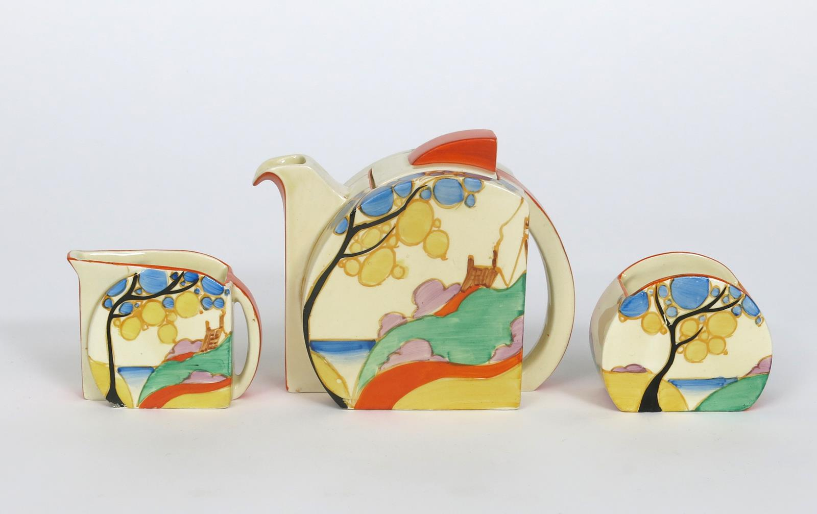 'Orange Secrets' a Clarice Cliff Fantasque Bizarre Stamford tea for two, painted in colours, - Image 3 of 5