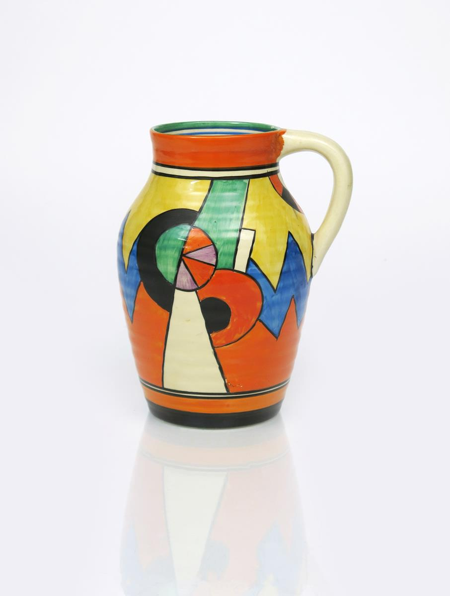 'Blue W' a Clarice Cliff Bizarre single-handled Isis vase, painted in colours between orange and - Image 2 of 4