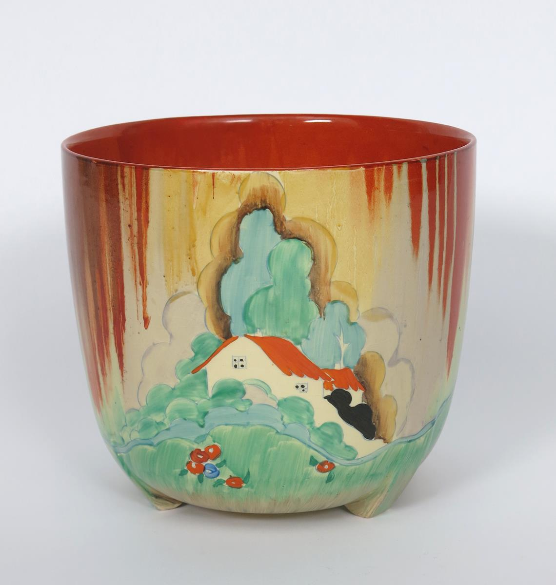 'Forest Glen' a Clarice Cliff Bizarre Dover jardiniere, painted in colours printed factory marks,