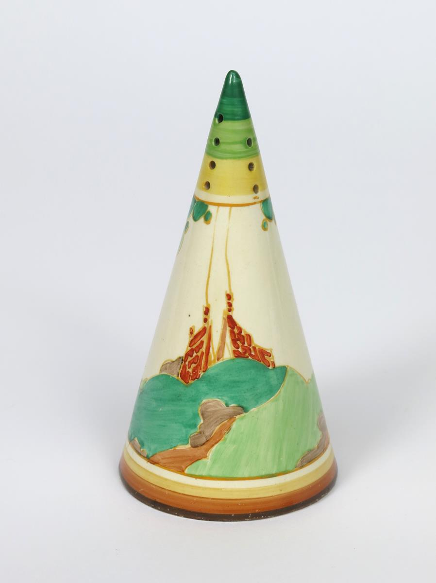 'Secrets' a Clarice Cliff Bizarre Conical sugar sifter, painted in colours printed factory marks, - Image 2 of 2