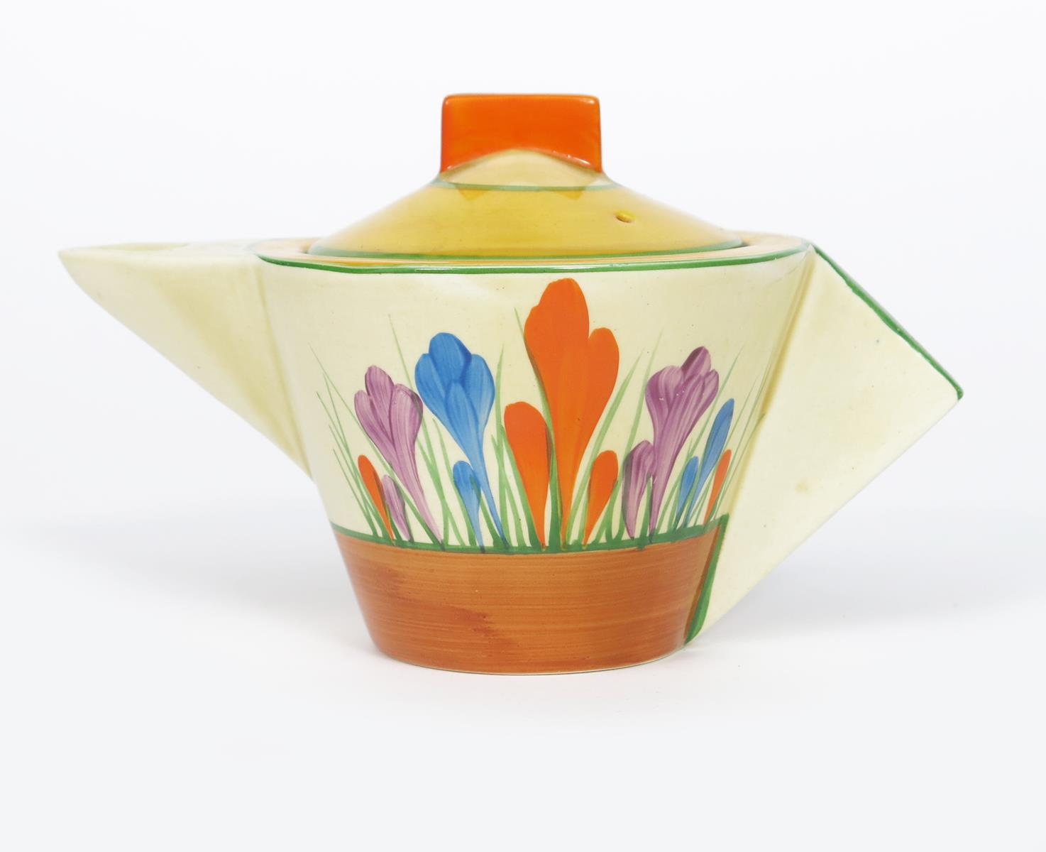 'Crocus' a Clarice Cliff Bizarre Conical teapot and cover, painted in colours between yellow and
