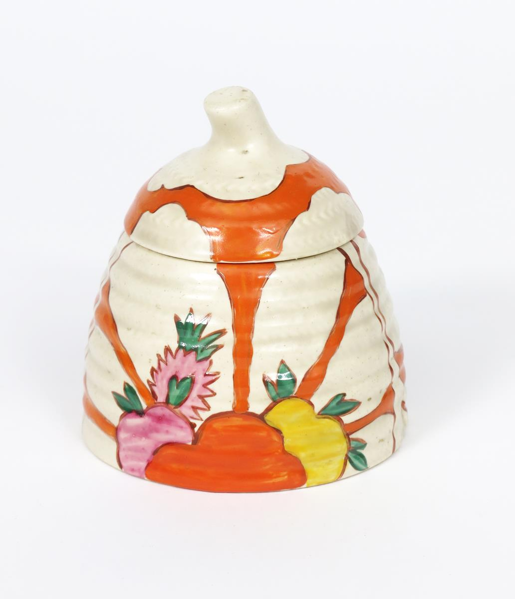 'Fruitburst' a Clarice Cliff honeypot and cover, painted in colours printed Clarice Cliff mark, - Image 2 of 2