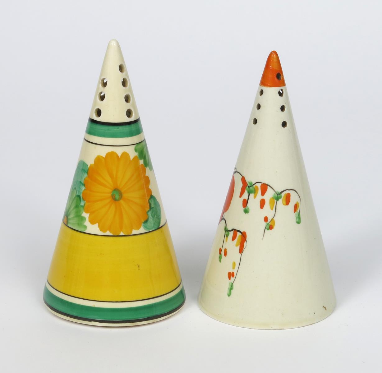 'Sun-gay' a Clarice Cliff Bizarre Conical sugar sifter, painted in colours and a Honeyglaze - Image 2 of 2