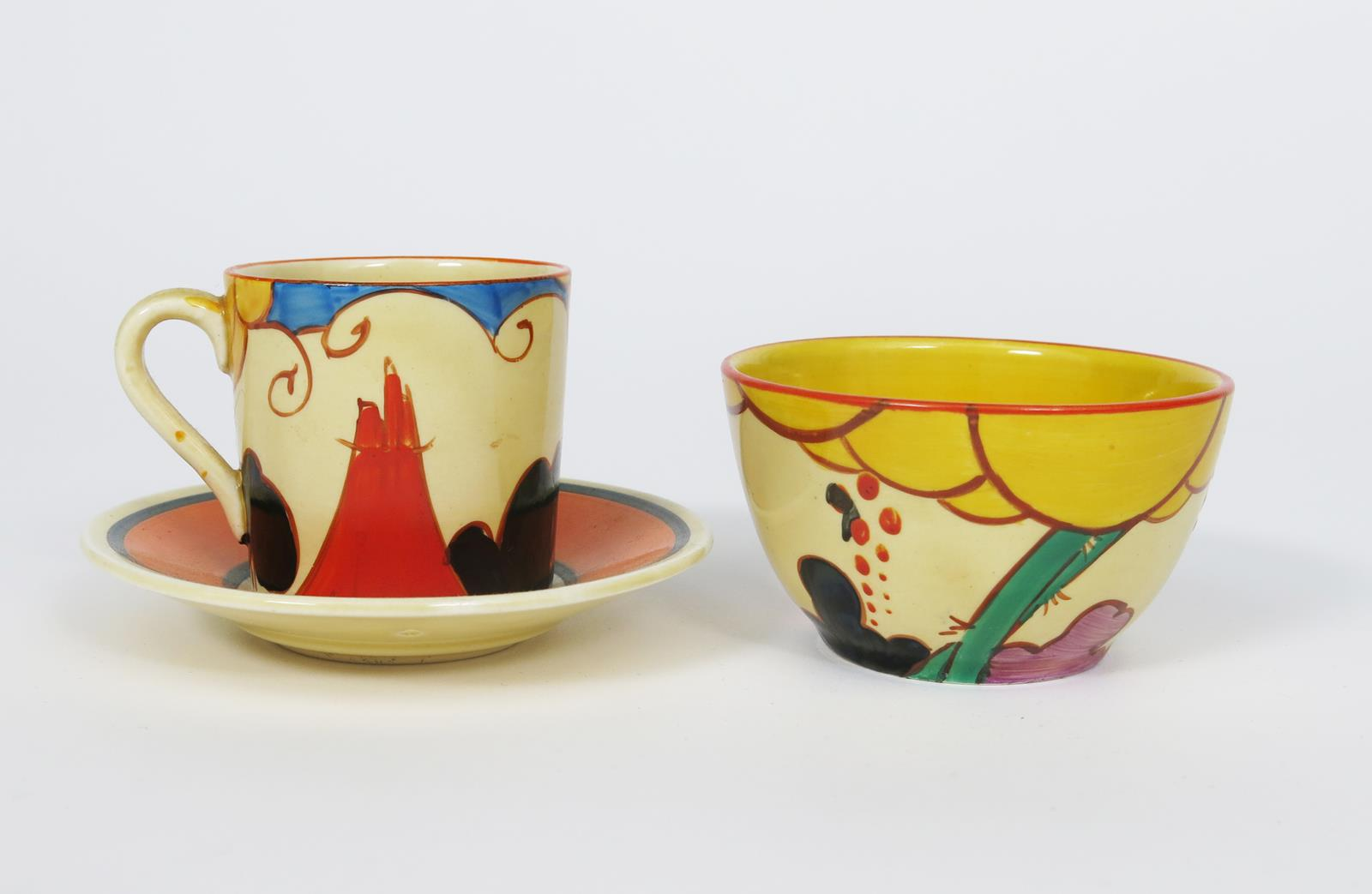 'Summerhouse' a Clarice Cliff Fantasque Bizarre Tankard coffee can and saucer and en suite sugar - Image 2 of 2
