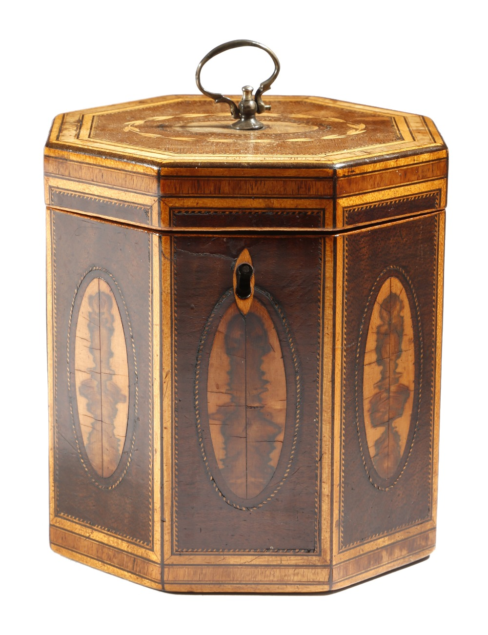 Lot 44 - A George III harewood octagonal tea caddy, inlaid with stringing and tulipwood and planewood
