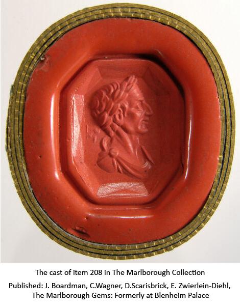 Lot 1279 - A Renaissance carved sapphire intaglio, depicting Julius Caesar